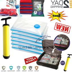6 Jumbo Large Vacuum Seal GARMENT Bags Space Saver Storage B