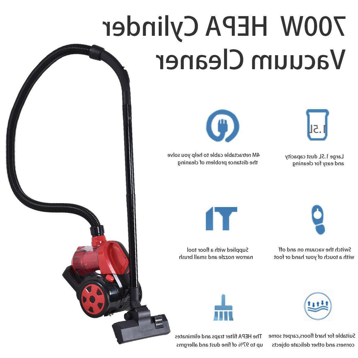 Vacuum Cleaner Bagless Rewind Carpet Floor HEPA