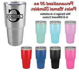 Personalized 30 oz Tumbler With Straw | Monogram Initial wit