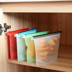 US 1Pc Silicone Food Storage Bag Freezer Reusable Seal Ziplo