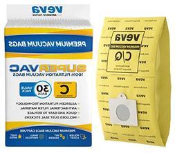 VEVA 30 Pack Premium SuperVac Vacuum Bags Type C Compatible