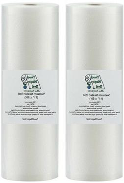 """Vacuum Sealer Bags 2-11""""x50' Rolls Food Magic Seal Storage!"""